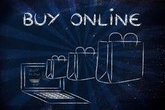 Compri online (illustrazione delle borse che escono da un computer portatile) Immagine Stock Libera da Diritti