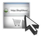 Comprila ora tasto del browser con il cursore illustrazione di stock