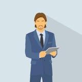 Comprimé élégant de prise de costume de mode d'usage d'homme d'affaires illustration libre de droits