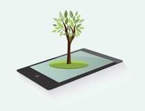 Comprimé d'Eco avec l'arbre Photo stock