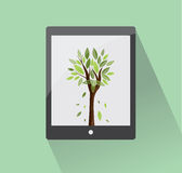 Comprimé d'Eco avec l'arbre Photos stock