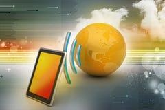 Comprimé de Digital avec la terre, et symbole Wi-Fi Photos stock