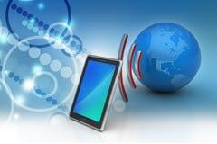 Comprimé de Digital avec la terre, et symbole Wi-Fi Photo stock