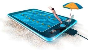 Comprimé de Digital comme piscine d'eau comme vacances et concept de communication Photographie stock libre de droits