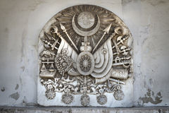 Comprimé en pierre avec le tughra du sultan et du manteau des bras de l'empire de tabouret à l'intérieur du palais de Topkapi, Is images libres de droits