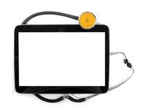 Comprimé vide et stéthoscope numériques d'isolement sur le blanc photos stock