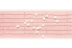 Comprimés blancs de forme de coeur sur les résultats de papier d'ECG d'isolement sur le blanc Image libre de droits
