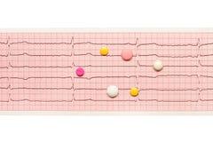 Comprimés blancs, jaunes et roses sur les résultats de papier d'ECG d'isolement sur le blanc Images stock