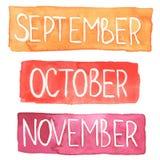 Comprimés d'aquarelle avec des mois d'automne illustration libre de droits