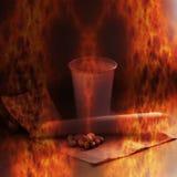 Comprimés et tasse brûlants - représentation symbolique de dépendance aux médicaments Photo libre de droits