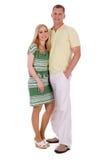Comprimento cheio da posição envelhecida média de sorriso dos pares Fotografia de Stock Royalty Free