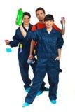 Comprimento cheio de trabalhos de equipa dos trabalhadores da limpeza imagem de stock