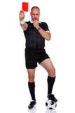 Comprimento cheio do árbitro do futebol isolado no branco Imagens de Stock