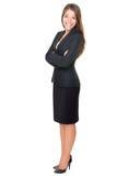 Comprimento cheio isolado mulher de negócios no branco Fotografia de Stock Royalty Free