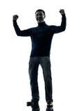 Comprimento completo da silhueta vitorioso forte feliz do homem Imagem de Stock Royalty Free