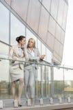 Comprimento completo das mulheres de negócios novas que conversam no balcão do escritório Fotos de Stock Royalty Free