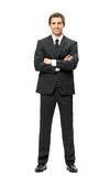 Comprimento completo do homem de negócio com as mãos cruzadas Fotos de Stock Royalty Free