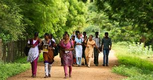 Comprimento completo dos amigos multi-étnicos que andam na estrada do terreno foto de stock royalty free