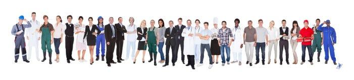 Comprimento completo dos povos com ocupações diferentes Foto de Stock