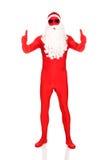Comprimento completo Santa na roupa do látex com polegares acima Foto de Stock Royalty Free