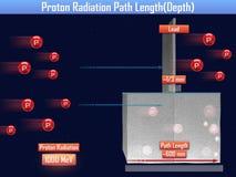 Comprimento de trajeto da radiação de Proton & x28; 3d illustration& x29; Fotografia de Stock