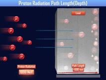 Comprimento de trajeto da radiação de Proton & x28; 3d illustration& x29; Fotografia de Stock Royalty Free