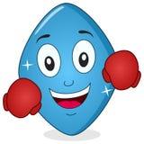 Comprimido azul engraçado Viagra com luvas de encaixotamento ilustração do vetor