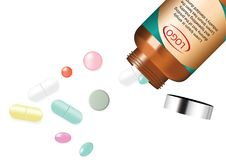Comprimido e vitamina da medicina da mistura com Amber Glass Jar Background Illustration ilustração stock