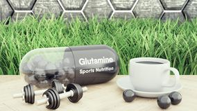 Comprimido grande da glutamina, dois pesos e uma xícara de café Nutrição do esporte para a ilustração do halterofilismo 3d imagens de stock royalty free