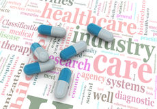 comprimidos 3d no wordcloud dos cuidados médicos. Imagens de Stock Royalty Free