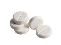 Comprimidos brancos no fundo branco Imagem de Stock Royalty Free