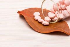 Comprimidos cor-de-rosa com folha alaranjada Foto de Stock Royalty Free