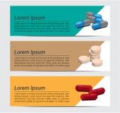 Comprimidos da medicina da cápsula da mistura com projeto do vetor da bandeira do fundo do texto Fotografia de Stock Royalty Free