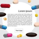 Comprimidos da medicina da mistura com projeto do vetor da bandeira do fundo do texto Fotografia de Stock Royalty Free