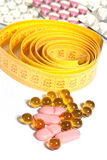 Comprimidos da medida e da dieta de fita Fotografia de Stock Royalty Free