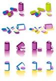 Comprimidos de Clolor no fundo branco Fotografia de Stock Royalty Free