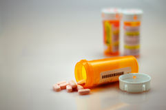 Comprimidos derramados, prescri derramado Fotografia de Stock