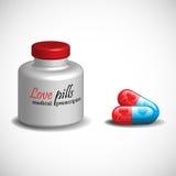 Comprimidos do amor Fotografia de Stock