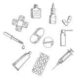 Comprimidos, drogas e esboços médicos dos ícones Imagem de Stock Royalty Free