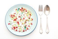 comprimidos, drogas, farm?cia, medicina ou m?dico na placa foto de stock