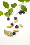 Comprimidos e bagas da uva-do-monte fotografia de stock