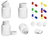 Comprimidos e frasco Imagem de Stock Royalty Free