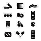 Comprimidos e grupo do ícone das cápsulas ícones em um estilo do projeto liso ilustração stock