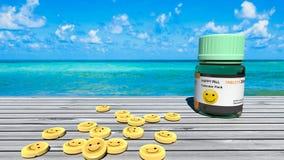 Comprimidos felizes, tabelas do smiley, tratamento da tristeza, oceano azul perfeito e um dia ensolarado ilustração do vetor