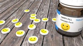 Comprimidos felizes, tratamento triste do humor para todos, tabuletas do smiley em uma tabela ilustração stock