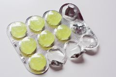 Comprimidos flavored analgésico fotos de stock