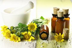 Comprimidos homeopaticamente da arnica imagens de stock royalty free