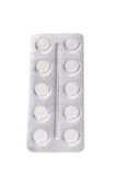 Comprimidos isolados em um fundo branco Medicamentação de Prescripted Aspirin, analgésicos, bloco dos antibióticos Conceito da fa Imagem de Stock Royalty Free