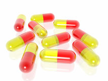 Comprimidos no fundo branco Fotos de Stock