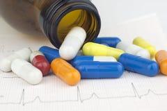 Comprimidos que derramam o formulário que um recipiente de vidro em um coração do ECG cobre Fotos de Stock Royalty Free